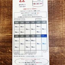 22周年記念クーポン(スタンプラリー式)本日よりお配りしています。